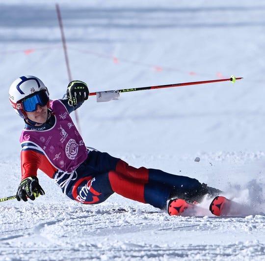 Logan Knowles competes at the Hartford Ski Spectacular on Dec. 8, 2018 at Breckenridge Ski Resort in Colorado.