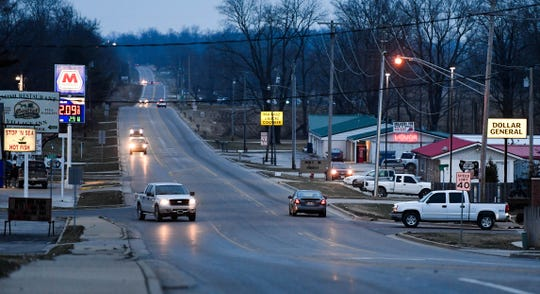 Indiana Highway 150 passes through Montgomery, Ind., population 343 Friday, January 11, 2019.