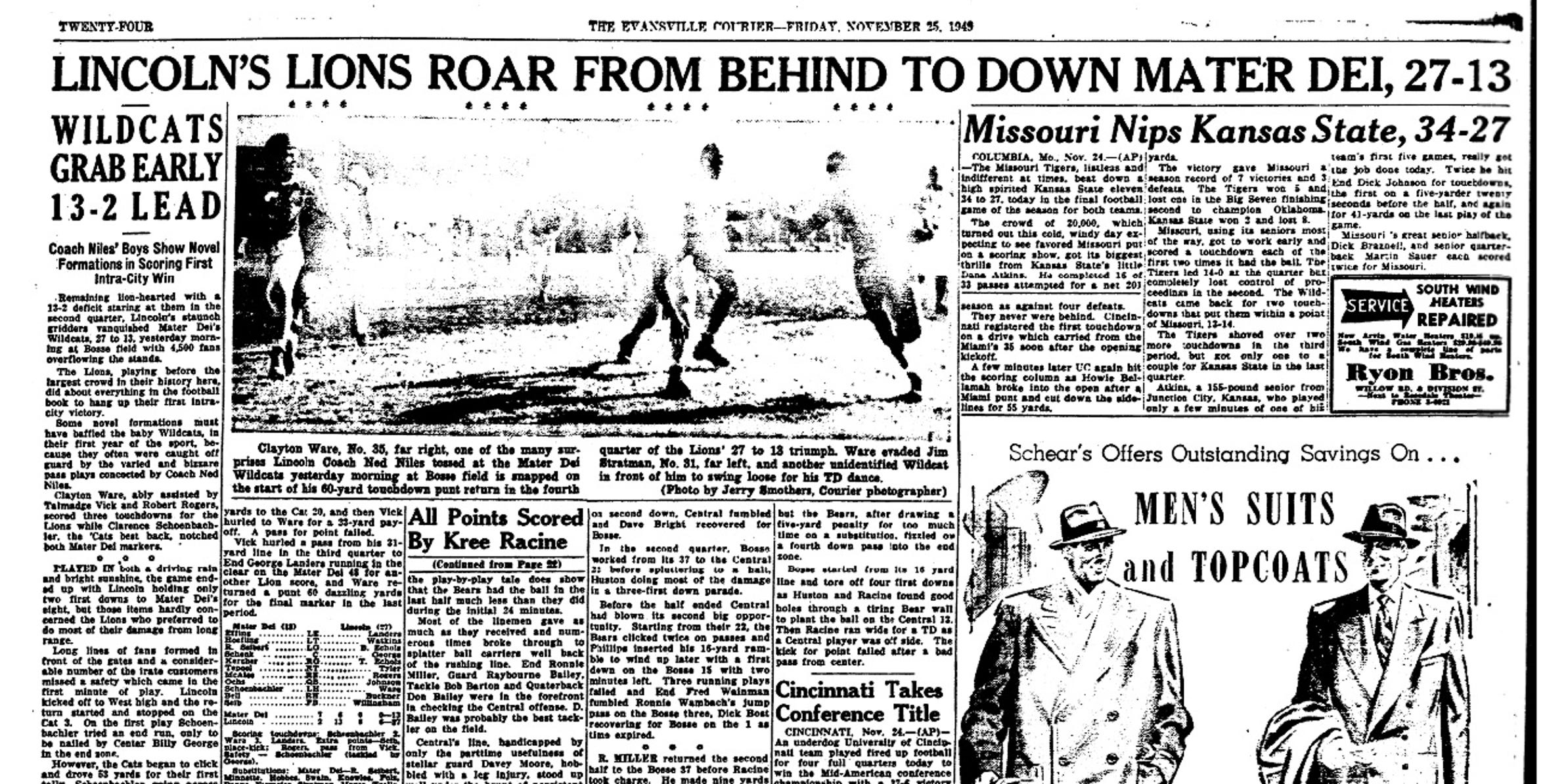 The Evansville Courier sports page from the morning after Lincoln's Thanksgiving Day win over Mater Dei in 1949.