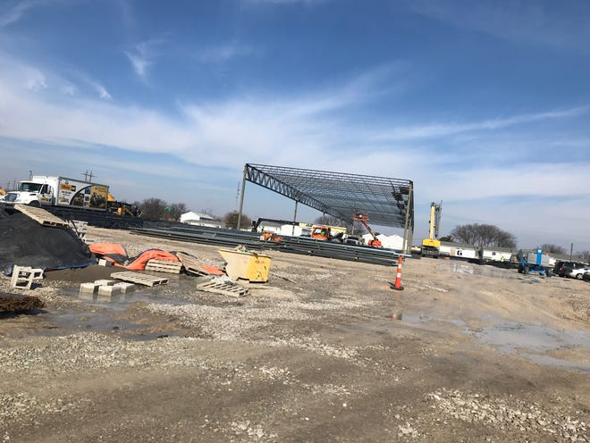 Construction continues at the new Kroger store site on Cedar Street this week.  City officials expect the new Kroger will be in line to open in October or November.