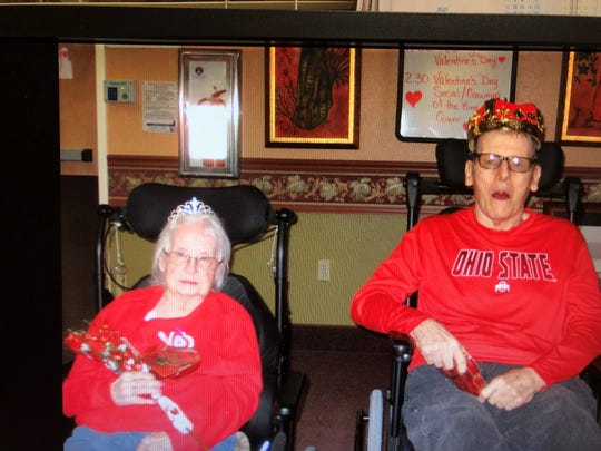 Themla Stull and Elmer Toensing were named as campus Valentine Royalty.