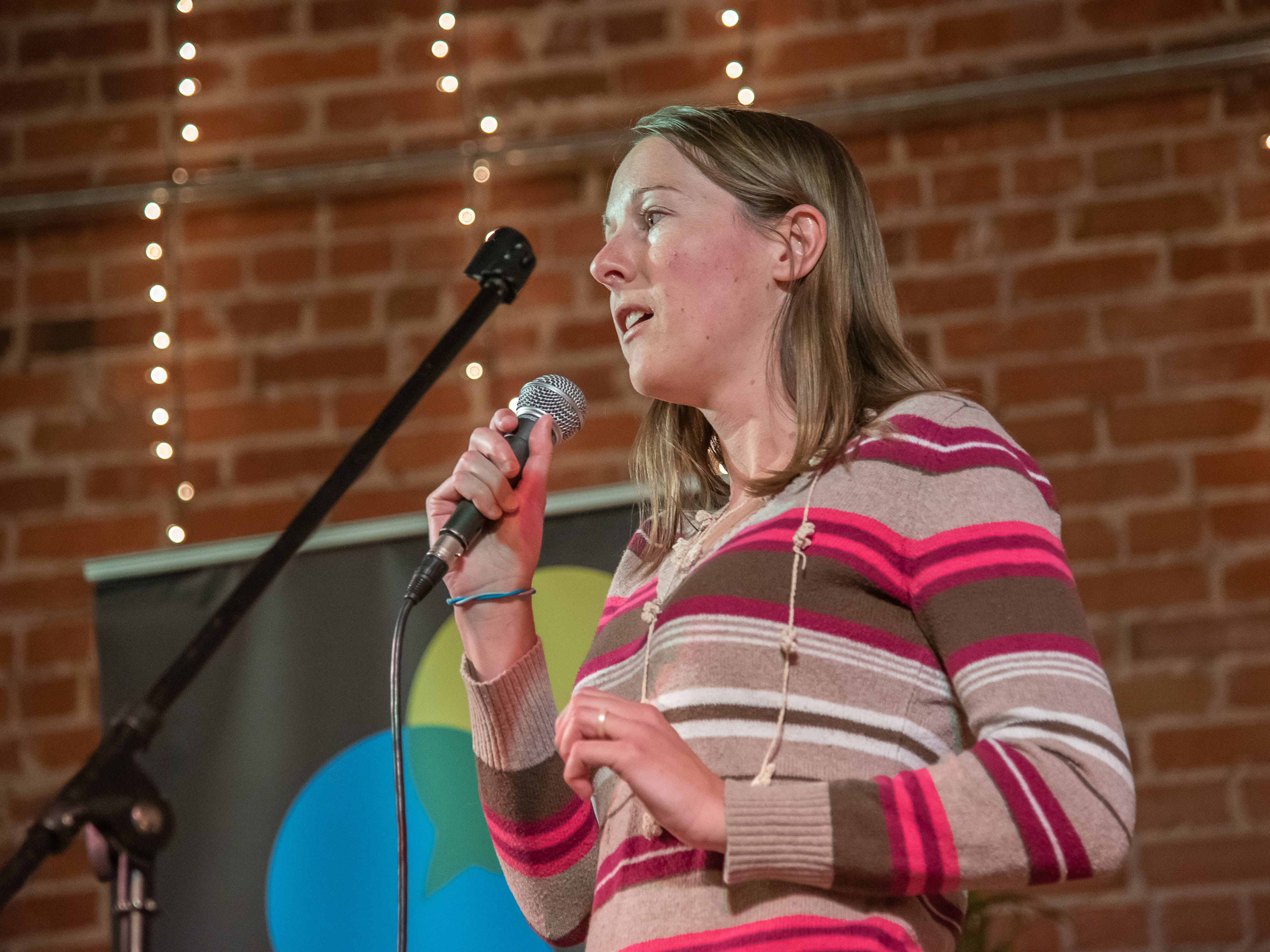 Storyteller Jessye Nemeth speaks of love and heartbreak during the Coloradoan Storytellers Project at Everyday Joe's Coffee House on Wednesday, February 20, 2019, in Fort Collins, Colo.