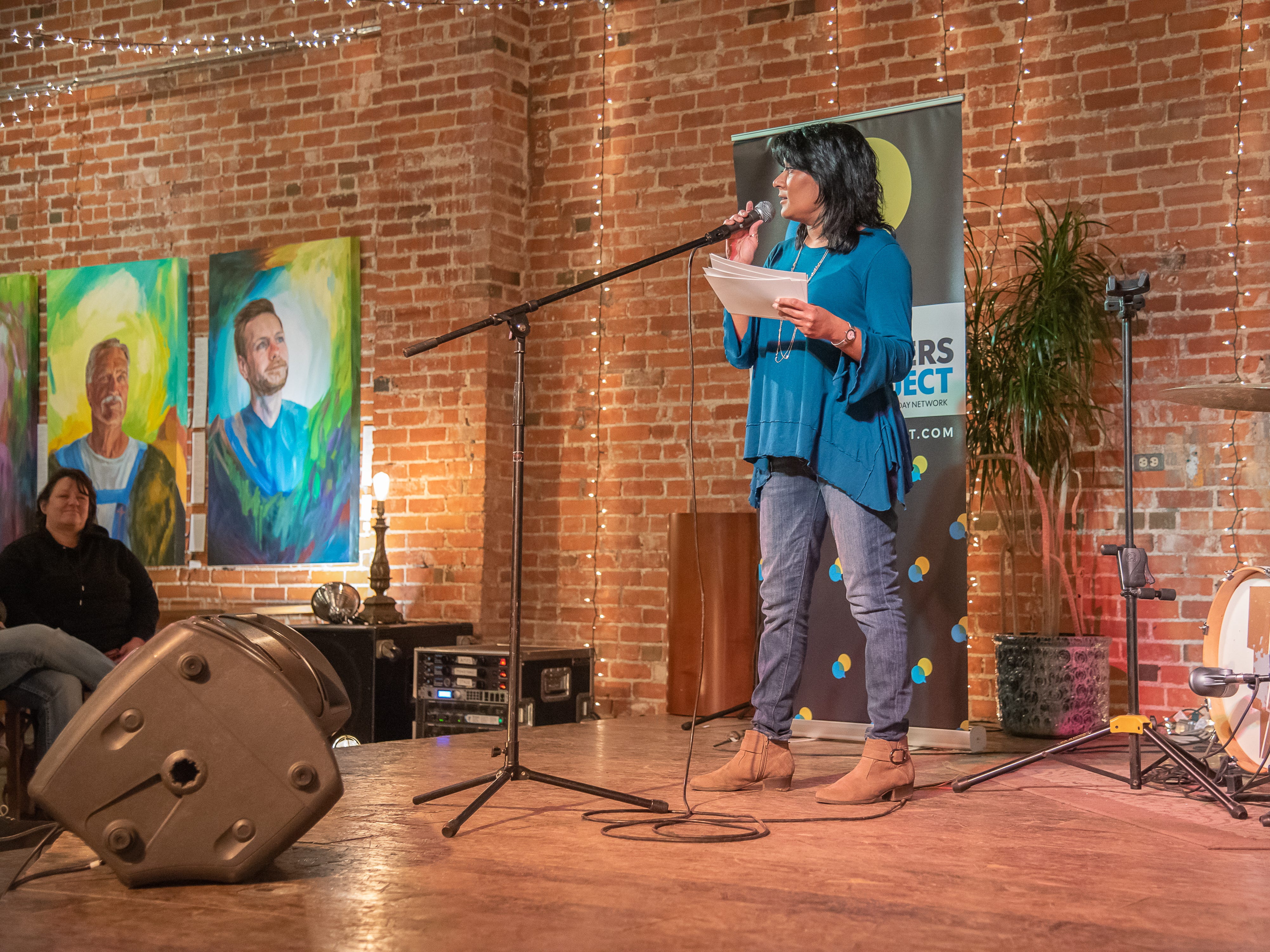 Storyteller Malini Bartles speaks of love and heartbreak during the Coloradoan Storytellers Project at Everyday Joe's Coffee House on Wednesday, February 20, 2019, in Fort Collins, Colo.