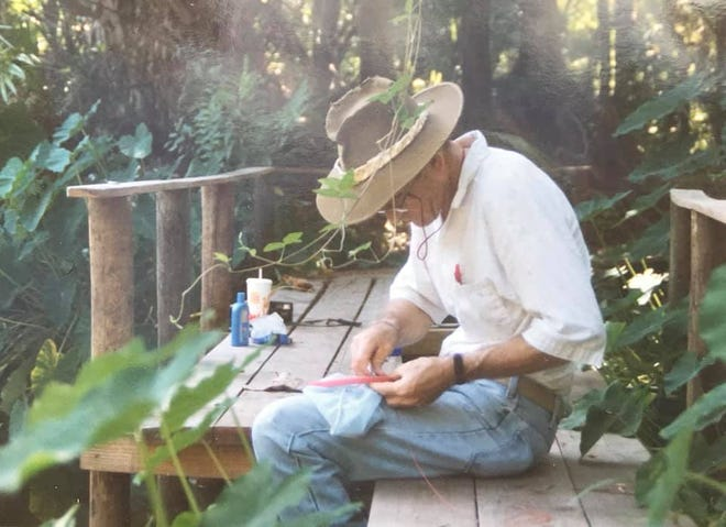 Whether flint knapping arrowheads, building baskets or carving gumbo limbo; Dick Workman was at his best outside, making things from natural materials.