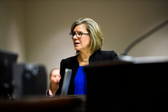 Jennifer R. Tessitore, an attorney representing the state, appears before Circuit Court judge J. Cordell Maddox Jr. during a bond hearing at the Greenville County Court House on Thursday, Feb. 21, 2019.