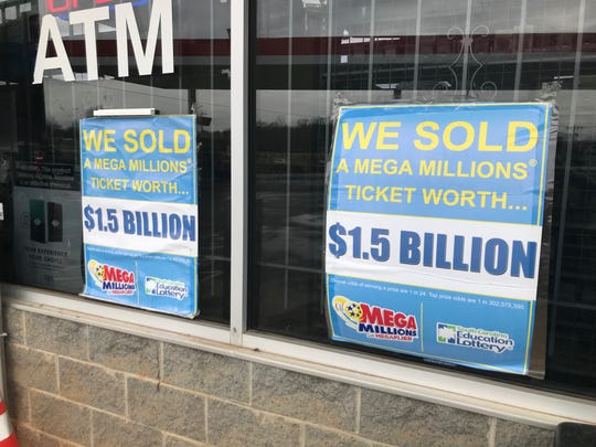 The store in Simpsonville that sold the winning lottery ticket boasts signs in its window.