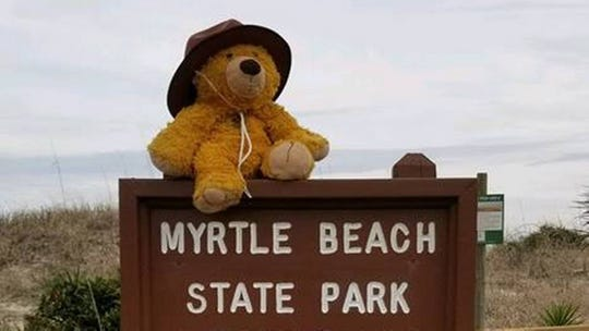 Before returning a lost teddy bear to a Columbia boy, South Carolina State Park rangers took pictures of the stuffed animal's adventure.