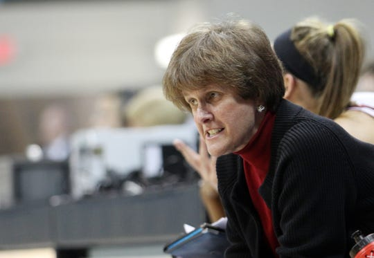 Charleston head coach Nancy Wilson instructs her team during the second half of an NCAA college basketball game in Chapel Hill, N.C., Tuesday, Dec. 28, 2010. North Carolina won 75-49.