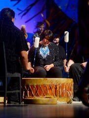 """The Pitaka drum group performs in the play """"Converge: E Pluribus Unum"""", presented by Great Falls Public Schools, on Wednesday night at Great Falls High."""
