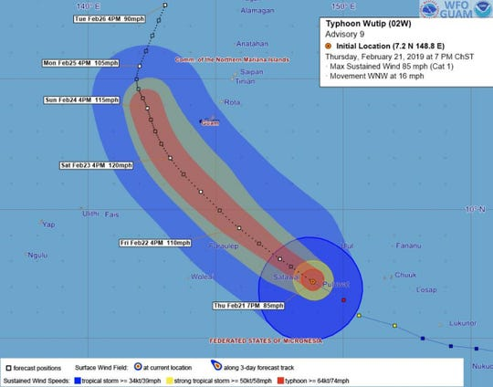 Typhoon Wutip as of 7 p.m. ChST on Thursday, Feb. 21.