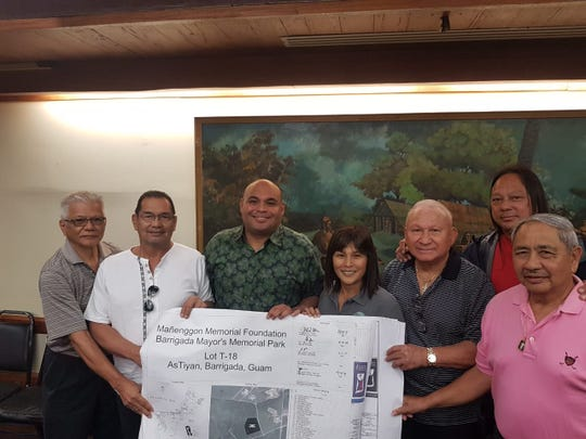 A signing of the design plans for the Jalaguac Memorial, Tiyan, Barrigada was held Feb 19 at the Governor's Office, honoring those who suffered as they built the runway during the Japanese Occupation. Pictured from left: Barrigada Municipal Planning Council (BMPC) Member Felix Benavente, BMPC Member Ariel Dimalanta, Acting Governor Josh Tenorio, Barrigada Mayor June U. Blas, BMPC Member & War Survivor Frank Benavente, Barrigada Vice Mayor Jessie Bautista, BMPC Member & War Survivor Joseph Mafnas.