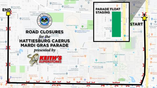 Map of Caerus Mardi Gras parade route and road closures