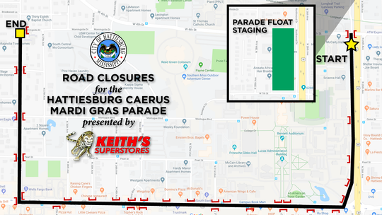 Map of Caerus Mardi Gras parade route and road closures