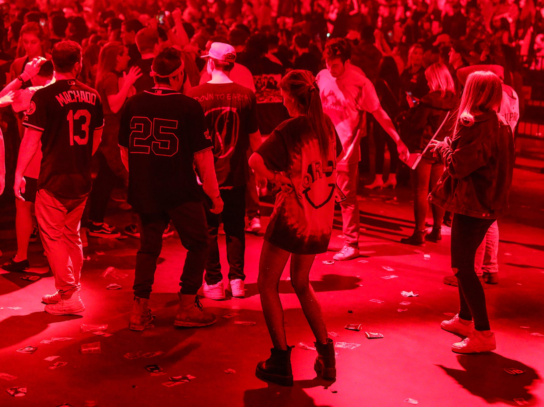 Fans on the floor section dance as Travis Scott performs on his Astroworld Tour at Banker's Life Fieldhouse in Indianapolis on Wednesday, Feb. 20, 2018.