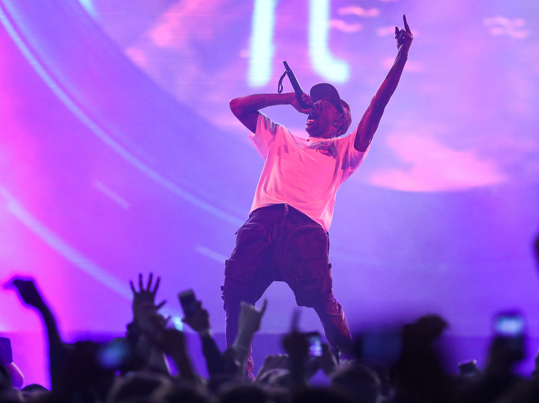Travis Scott performs on his Astroworld Tour at Banker's Life Fieldhouse in Indianapolis on Wednesday, Feb. 20, 2018.