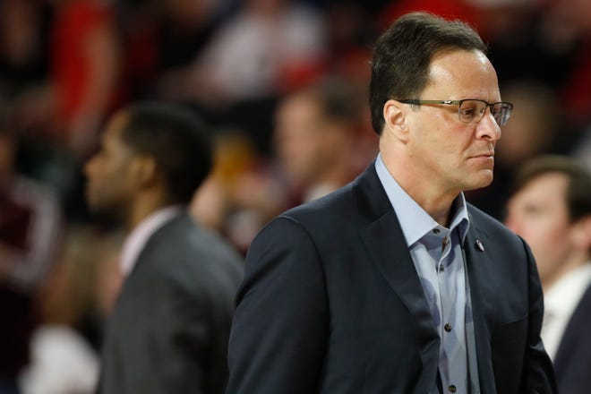 Georgia coach Tom Crean leaves the court after the first half of the team's NCAA college basketball game against Mississippi State in Athens, Ga., Wednesday, Feb. 20, 2019.