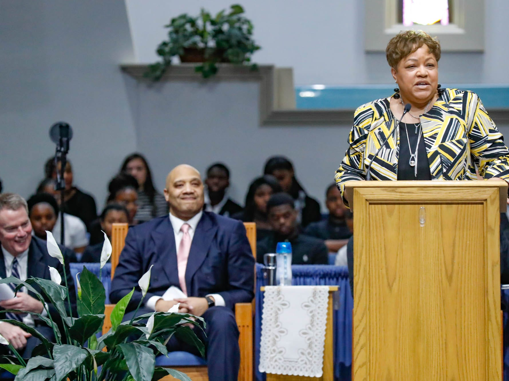 """Director of Diversity and EEO, Ms. Darlene Sedwick, speaks during the annual Steward Speakers Lecture Series event, held at Olivet Missionary Baptist Church in Indianapolis on Thursday, Feb. 21, 2019. This years theme was """"Year of the woman""""."""