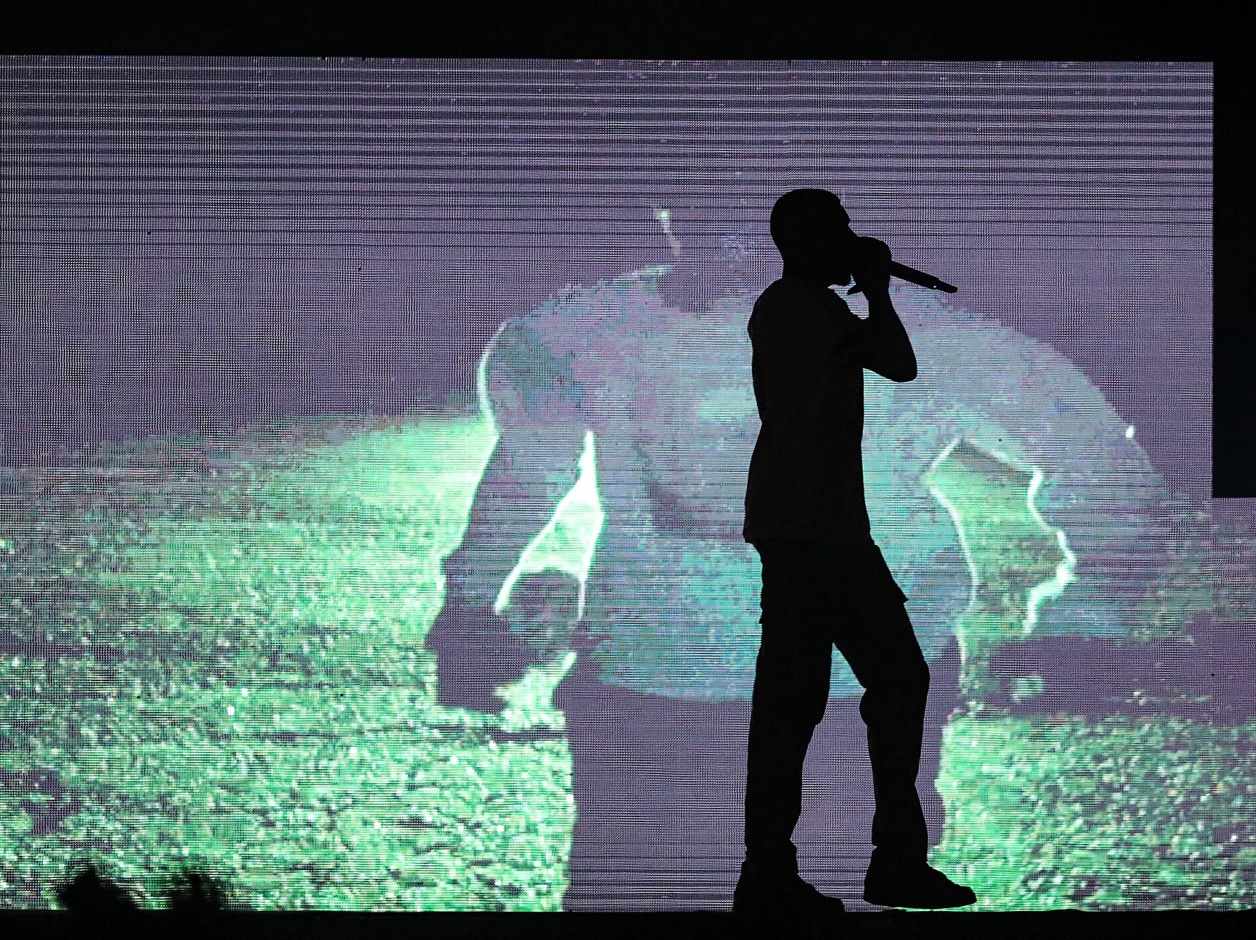 Sheck Wes performs as an opening act on Travis Scott's Astroworld Tour  at Banker's Life Fieldhouse in Indianapolis on Wednesday, Feb. 20, 2018.