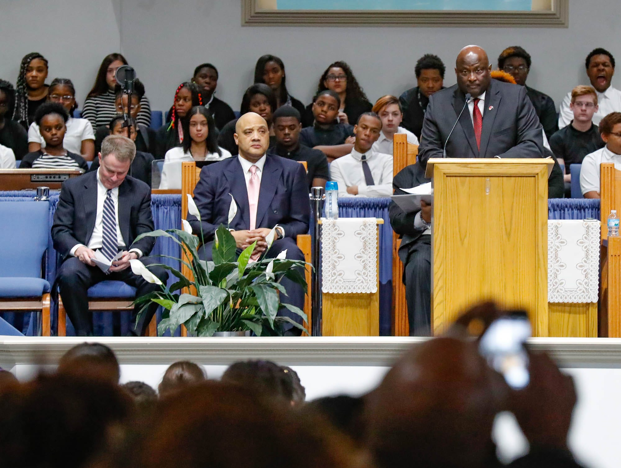 """President and founder of the Steward Speakers Lecture Series, Matthew Steward, speaks about the non-for prrofit's vision during the annual Steward Speakers Lecture Series event, held at Olivet Missionary Baptist Church in Indianapolis on Thursday, Feb. 21, 2019. This years theme was """"Year of the woman""""."""