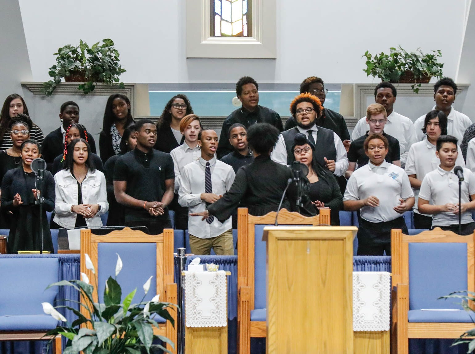 """The Tri-City School Gosphel Choir performs  during the annual Steward Speakers Lecture Series event, held at Olivet Missionary Baptist Church in Indianapolis on Thursday, Feb. 21, 2019. This years theme was """"Year of the woman""""."""