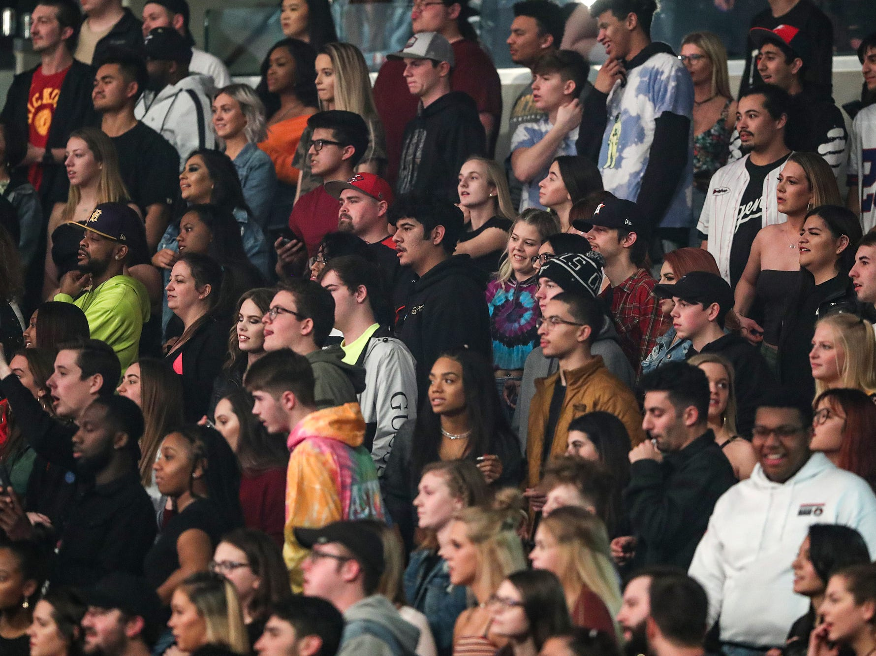 Fans listen from the lower level seating as Travis Scott performs on his Astroworld Tour at Banker's Life Fieldhouse in Indianapolis on Wednesday, Feb. 20, 2018.