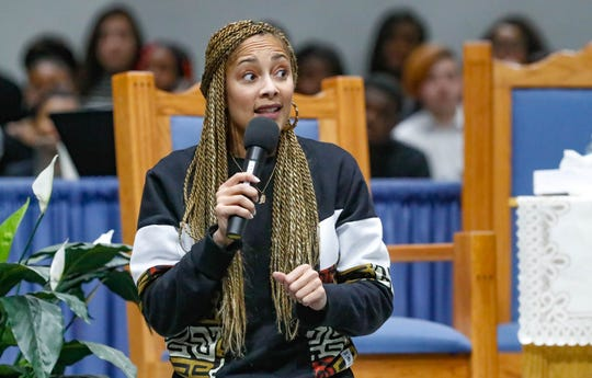 "American comedian, actress, disc jockey (DJ), recording artist and radio personality, Amanda Seales gives the keynote address during the annual Steward Speakers Lecture Series event, held at Olivet Missionary Baptist Church in Indianapolis on Thursday, Feb. 21, 2019. This years theme was ""Year of the woman""."