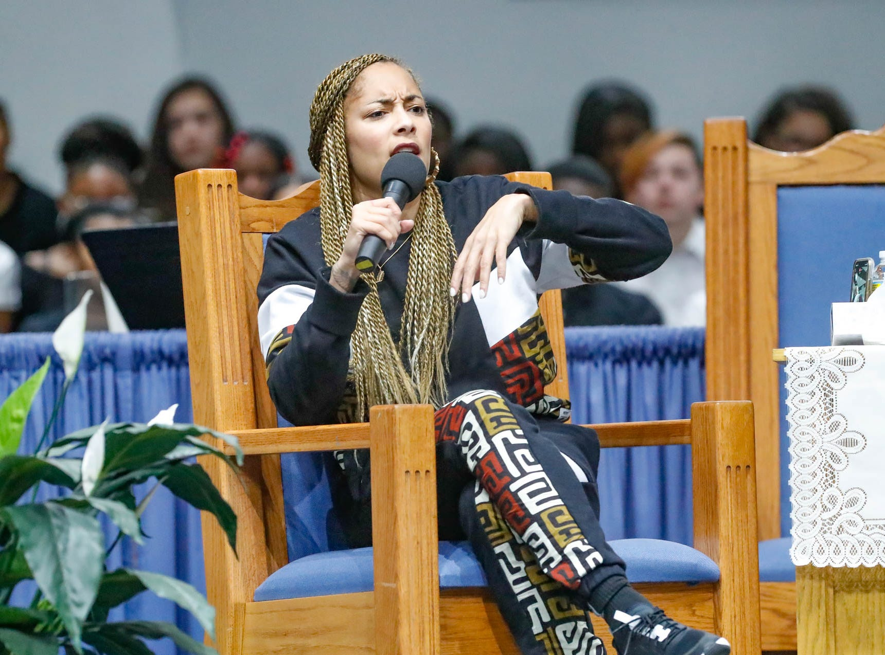 """American comedian, actress, disc jockey (DJ), recording artist and radio personality, Amanda Seales gives the keynote address during the annual Steward Speakers Lecture Series event, held at Olivet Missionary Baptist Church in Indianapolis on Thursday, Feb. 21, 2019. This years theme was """"Year of the woman""""."""