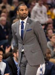 Feb 20, 2019; Milwaukee, WI, USA; Butler Bulldogs head coach LaVall Jordan looks on during the first half against the Marquette Golden Eagles at Fiserv Forum.