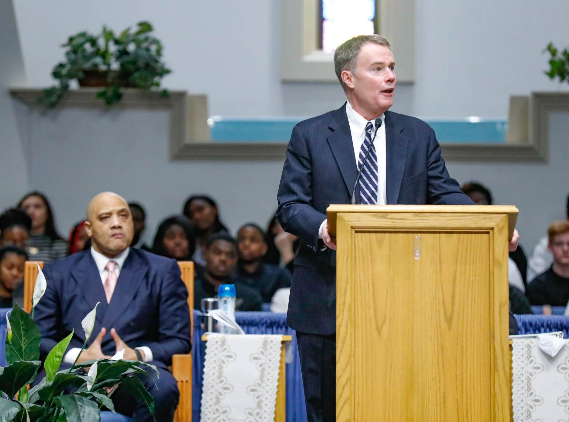 """Indianapolis Mayor Joe Hogsett speaks during the annual Steward Speakers Lecture Series event, held at Olivet Missionary Baptist Church in Indianapolis on Thursday, Feb. 21, 2019. This years theme was """"Year of the woman""""."""