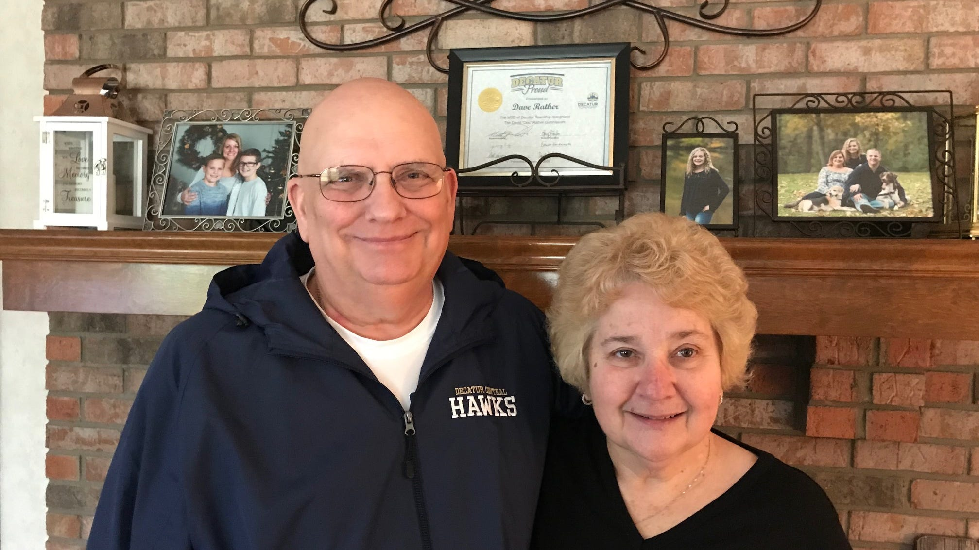 """Dave """"Doc"""" Rather and wife, Kathy. Rather, longtime athletic trainer and athletic director, will have Decatur Central gym named for him on Friday. He is battling prostate cancer."""