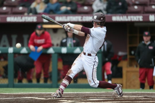Mississippi State center-fielder Jake Mangum had a game-winning 2-RBI single in the seventh inning of the Bulldogs' win over the UAB Blazers on Wednesday Feb. 20. Photo by Keith Warren