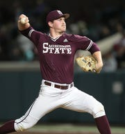Mississippi State's Cole Gordon pitched two scoreless innings in the Bulldogs' 3-2 win over UAB on Wednesday, Feb. 20. Photo by Keith Warren