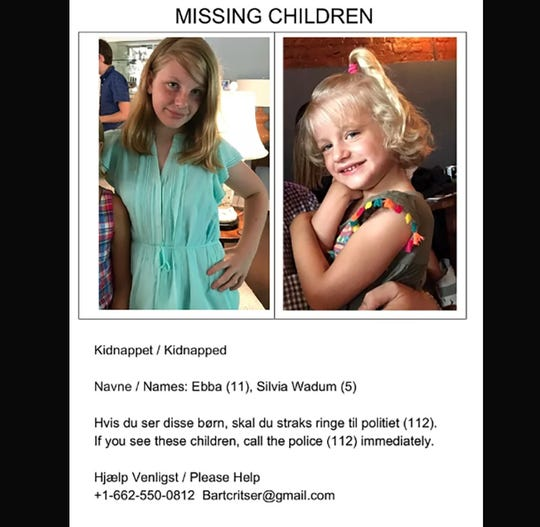 This is a poster circulating in Denmark of two Mississippi girls. Bart Critser of Mississippi was awarded custody of his daughters, but they have disappeared along with his ex-wife after a trip to Denmark.