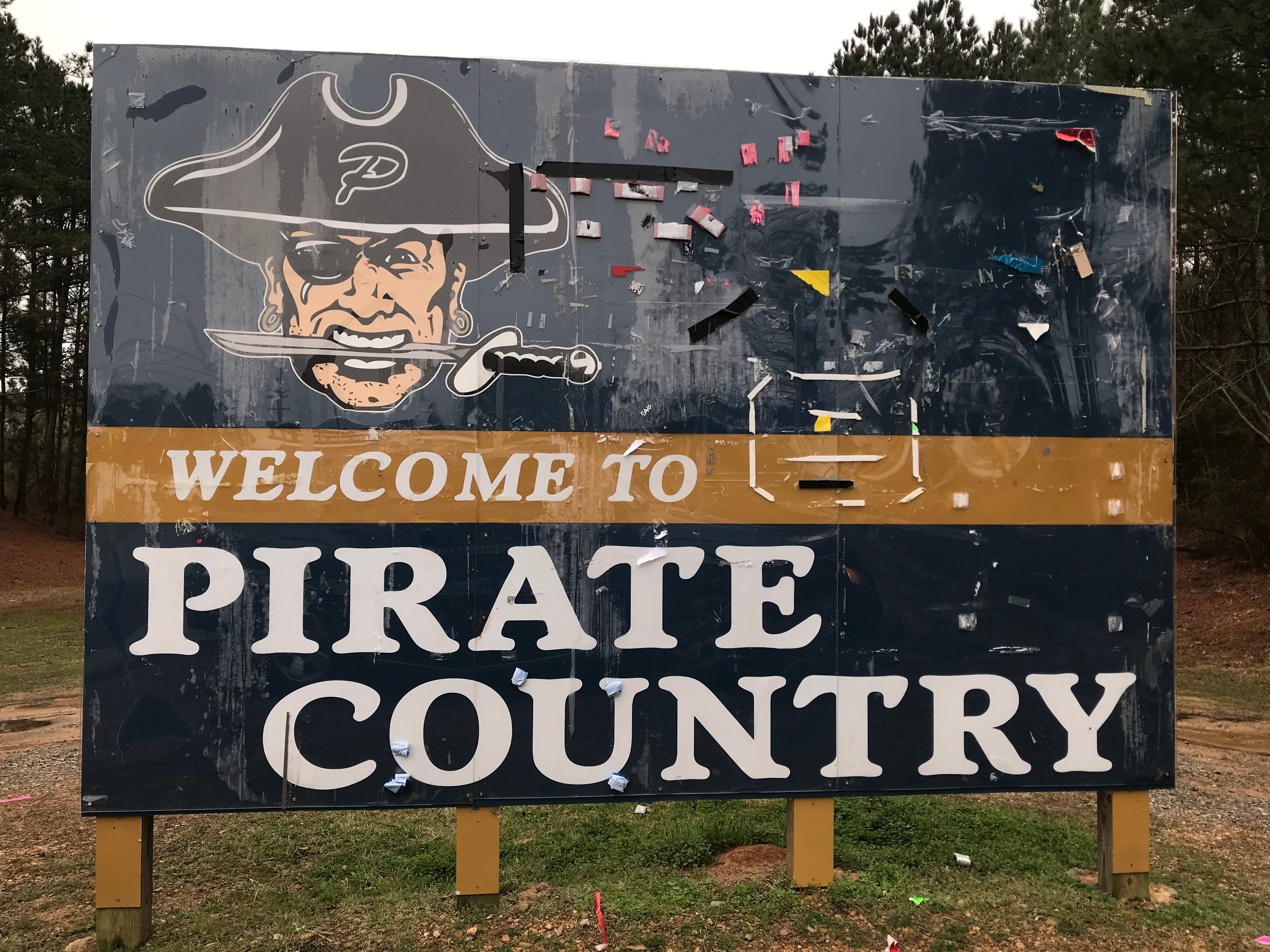 A sign on Pirates Cove greets visitors to Pearl High School in Pearl, Miss. Thursday, Feb. 21, 2019.