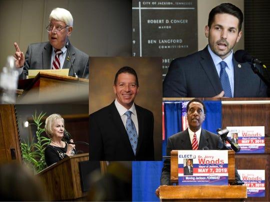 Jimmy Eldridge (top left), Scott Conger (top right), Vicky Foote (bottom left), Jerry Woods (bottom right) and Mark Johnstone (center) all are running for mayor of Jackson.