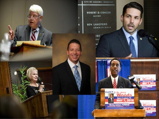 Jimmy Eldridge (top left), Scott Conger (top right), Vicky Foote (bottom left), Jerry Woods (bottom right) and Mark Johnstone (center) all are running for mayor of Jackson.