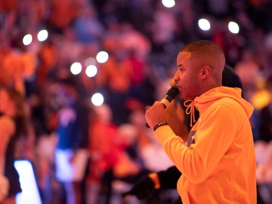 Anthony Walton on the floor during the Lady Vols and Auburn basketball game on Thursday, February 14, 2019.