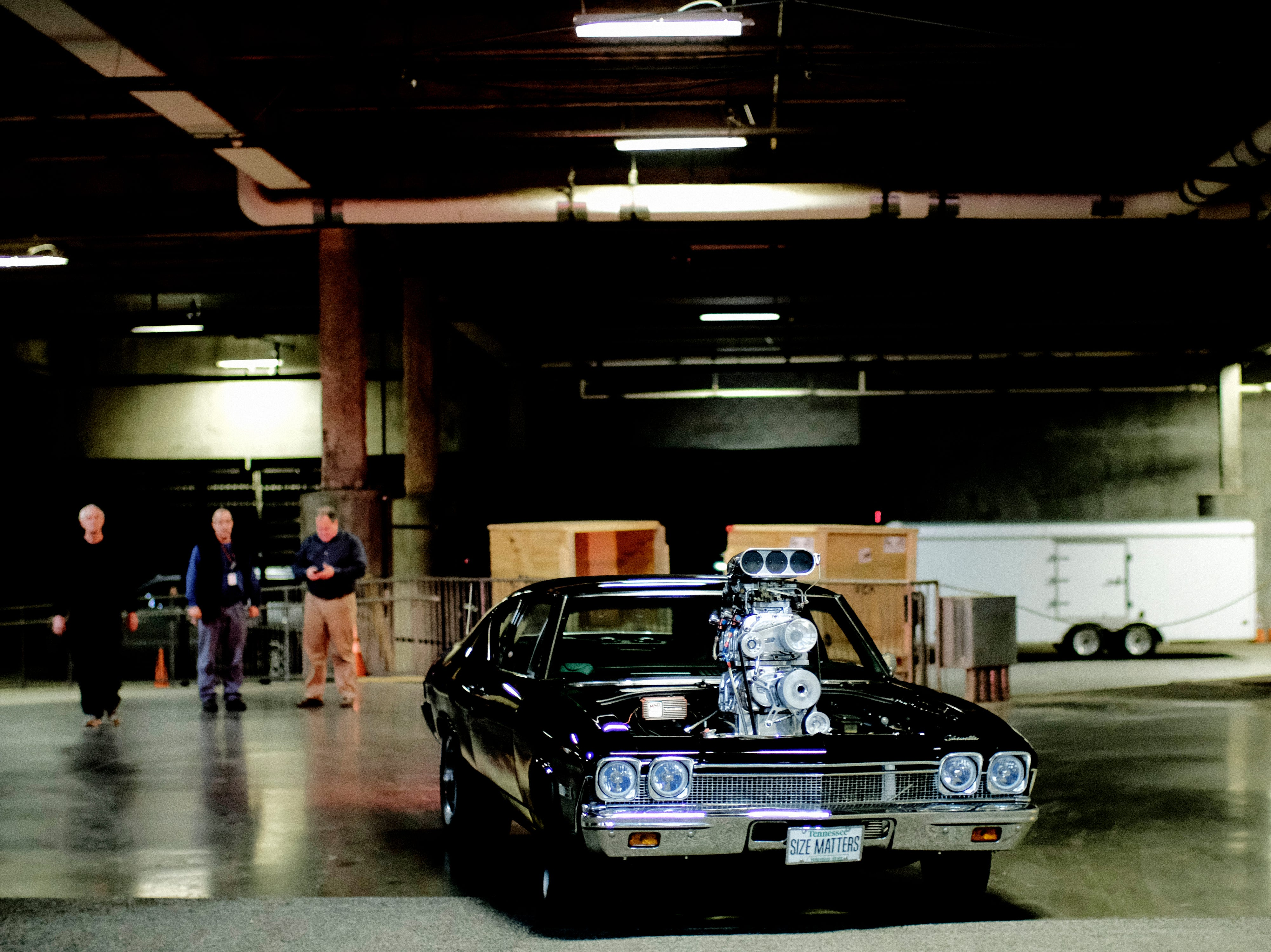 """Eddie McMillan, of Halls, rolls into the showroom in his supercharged Chevrolet Chevelle named """"The Torch"""" at the Knox News Auto Show in the Knoxville Convention Center in Knoxville, Tennessee on Wednesday, February 20, 2019."""