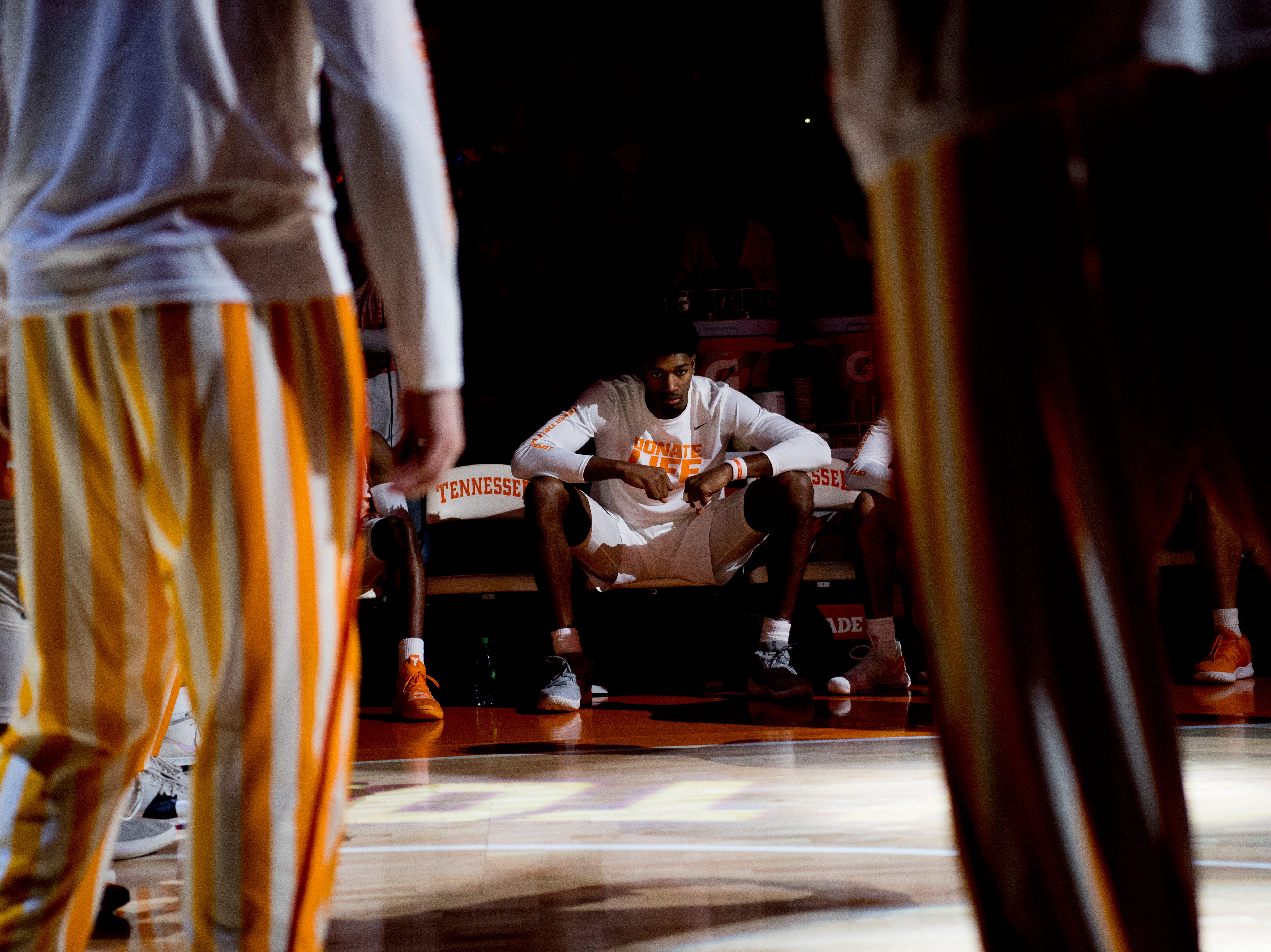 Tennessee forward Kyle Alexander (11) waits to be announced during a game between Tennessee and Vanderbilt at Thompson-Boling Arena in Knoxville, Tennessee on Tuesday, February 19, 2019.