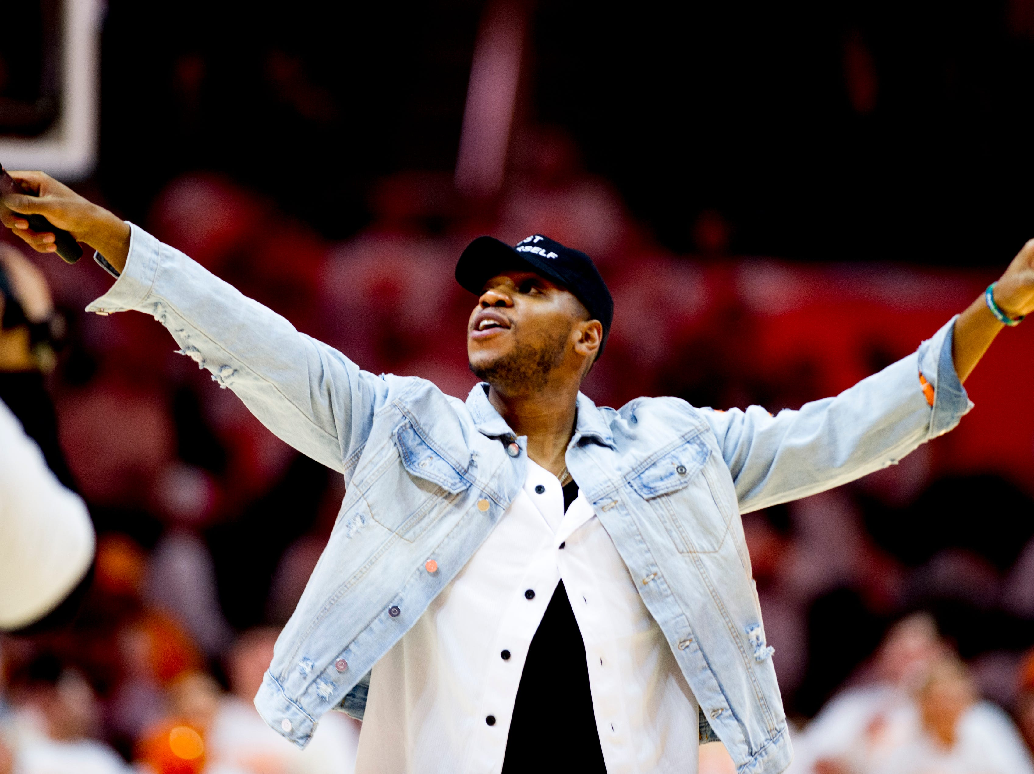 Chris Blue performs before the game at Thompson-Boling Arena in Knoxville, Tennessee on Tuesday, February 19, 2019.