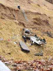 Emergency responders assist in rescuing people involved in the landslide on SR 70 in Hawkins County on Thursday, Feb. 21, 2019. A Jonesborough man was fatally injured.