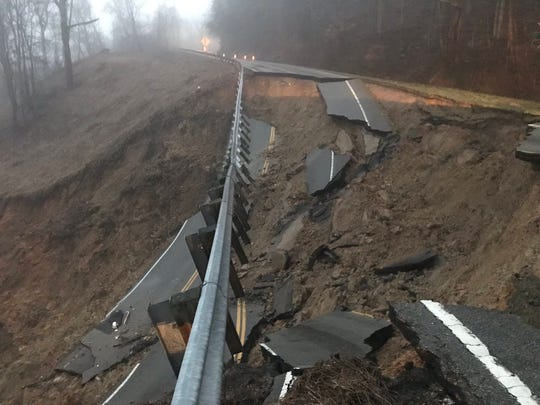 A mudslide on State Route 70 in Hawkins County sent one person to the hospital on Thursday, according to TDOT spokesperson Mark Nagi.