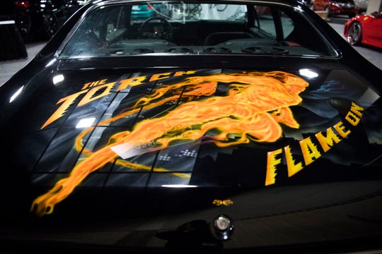 "Custom art on the trunk of ""The Torch,"" a 1,300-hp Chevrolet Chevelle that will be on display at the Knox News Auto Show this year."
