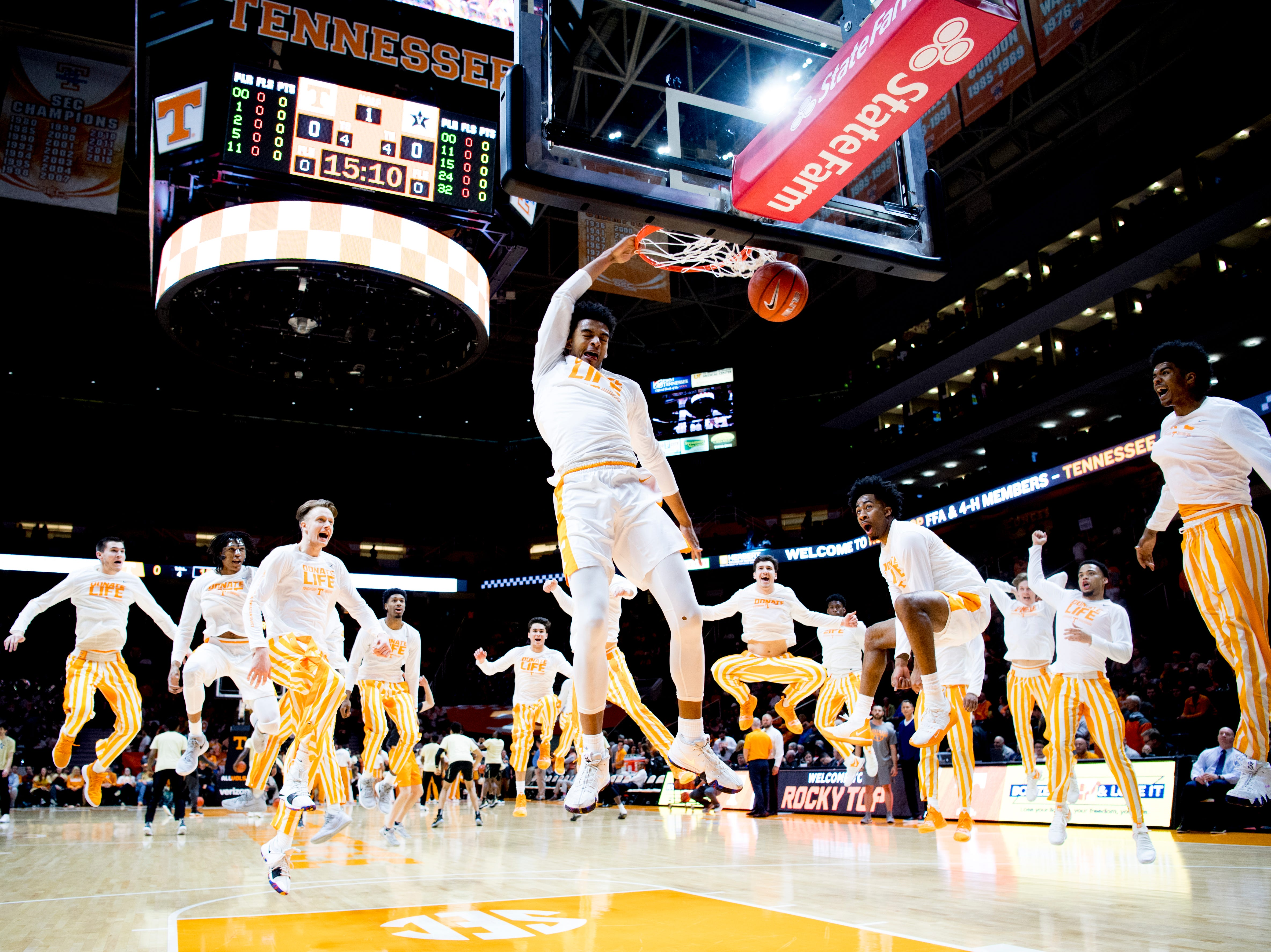 Tennessee guard Jalen Johnson (13) dunks during warm ups before a game between Tennessee and Vanderbilt at Thompson-Boling Arena in Knoxville, Tennessee on Tuesday, February 19, 2019.