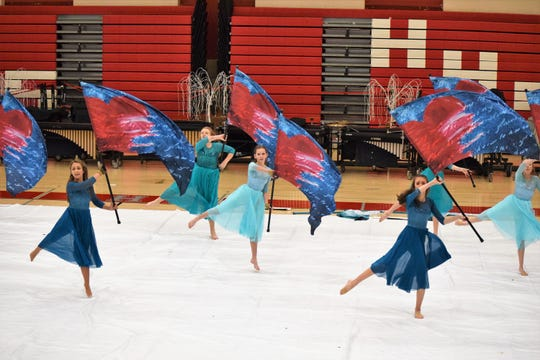 Halls High School Color Guard performs during the 12-hour Drum-a-thon on Feb. 16.