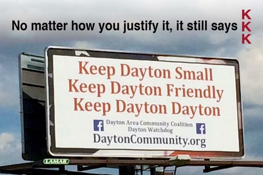 "These postcards, created recently by Lafayette resident Brian Dilkes, suggest the Dayton Area Community Coalition should remake its billboard on Indiana 38, near Interstate 65, so it doesn't include ""KKK"" lineup of first letters on the ""Keep Dayton Small"" campaign. Dayton residents this week considered the suggestion an accusation that ""Keep Dayton Small"" was somehow tied to the white supremacist group."