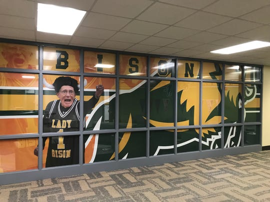 The office at Benton Central pays homage to former principal and athletic director Dick Atha, who remains a fixture in the school community.