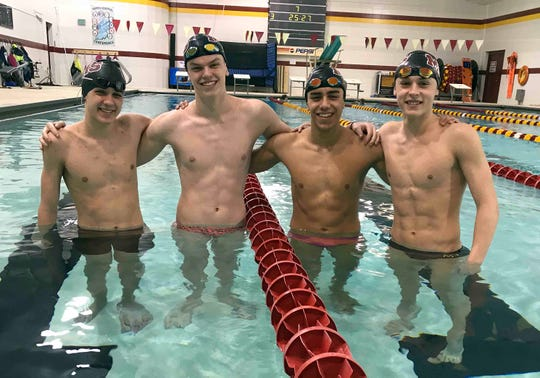 McCutcheon's 200 free relay team of Chase Merrell, Zach Weathers, Porfi Vasquez and Jonah McCutcheon will compete in the state preliminaries on Friday.