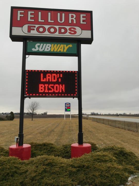 Fellure Foods entering Benton County has had congratulatory messages on its digital board along US 52.