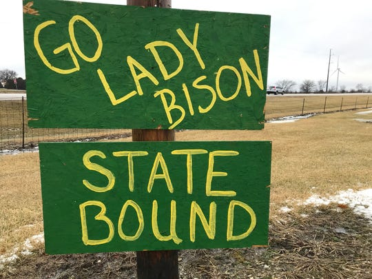 This sign on a post outside Benton Central in Oxford is one of several in the county to celebrate the girls basketball team's run to the state championship.